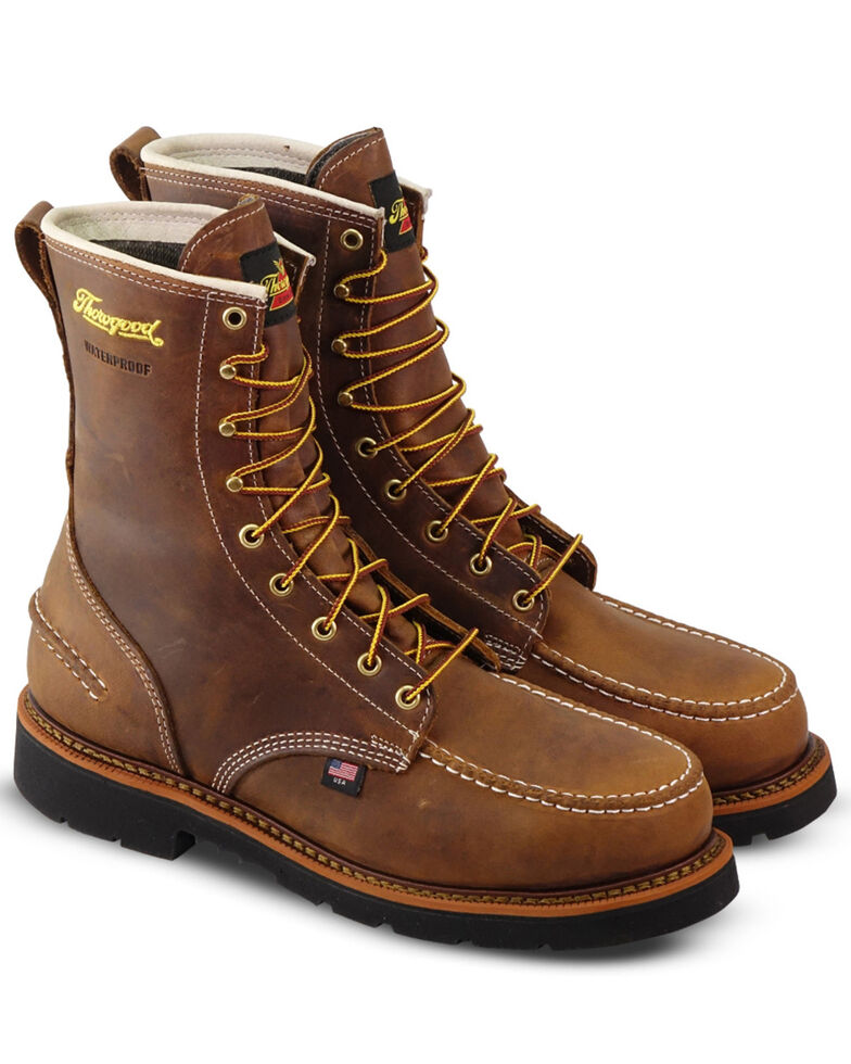 """Thorogood Men's 8"""" Crazyhorse Waterproof Work Boots - Steel Toe, Brown, hi-res"""