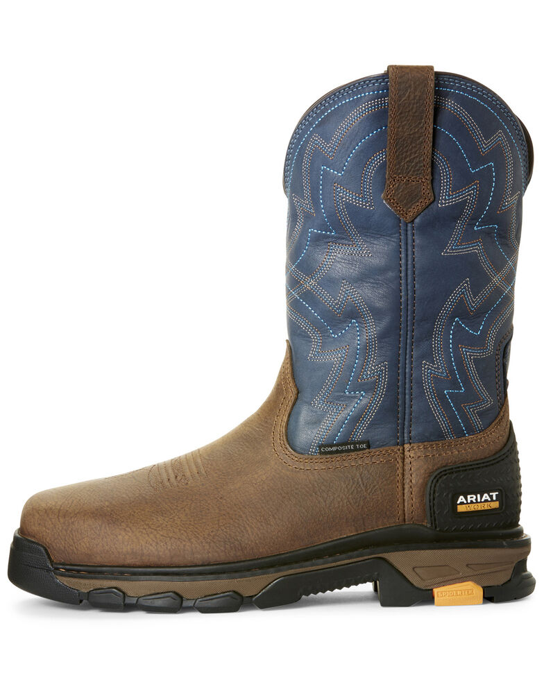 Ariat Men's Intrepid Force Rye Western Work Boots - Composite Toe, Brown, hi-res