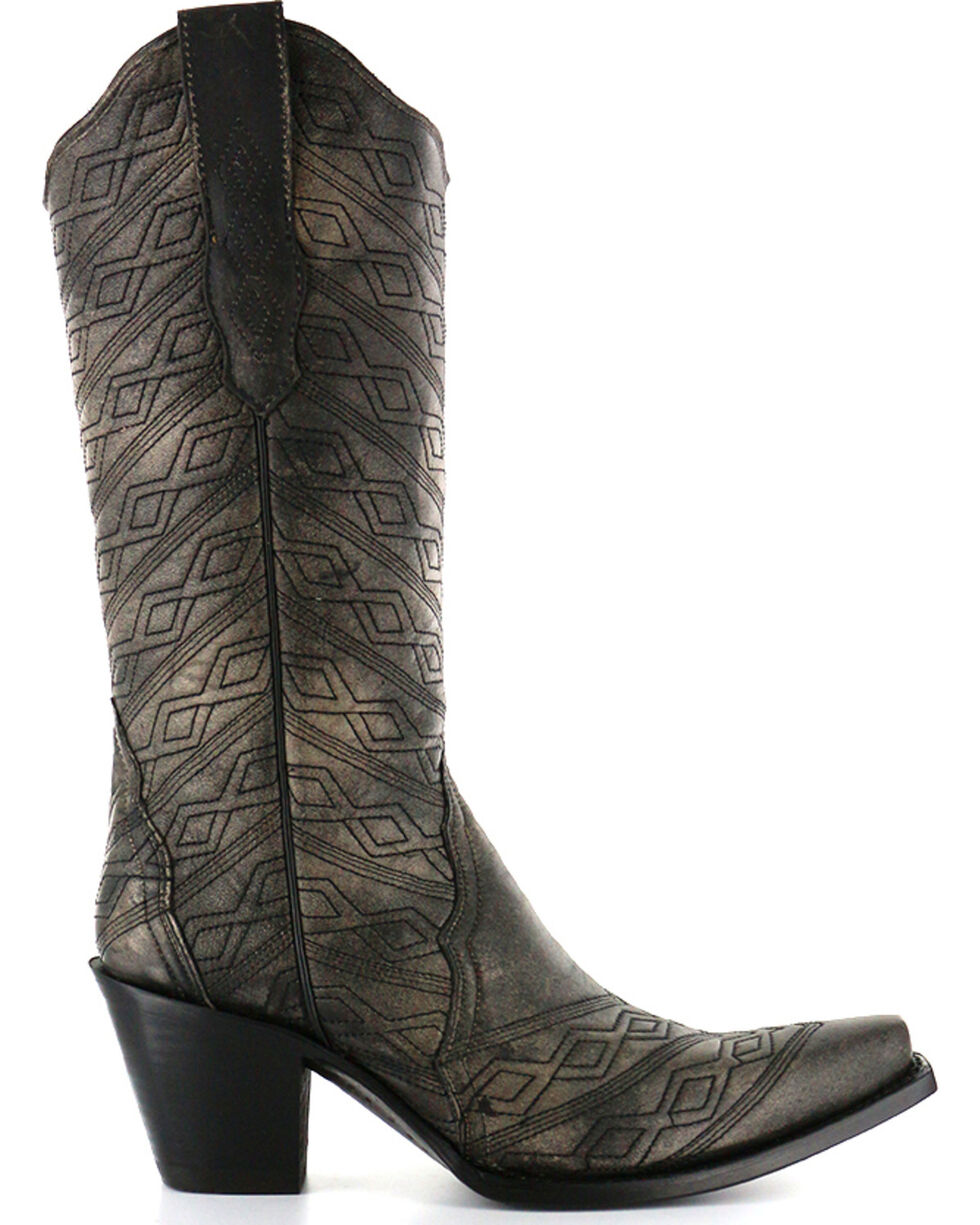 Corral Women's Aztec Diamond Quilted Western Boots - Snip Toe, Black, hi-res