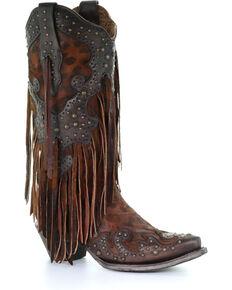 Corral Women's Leopard Stud & Fringe Cowgirl Boots - Snip Toe, Honey, hi-res