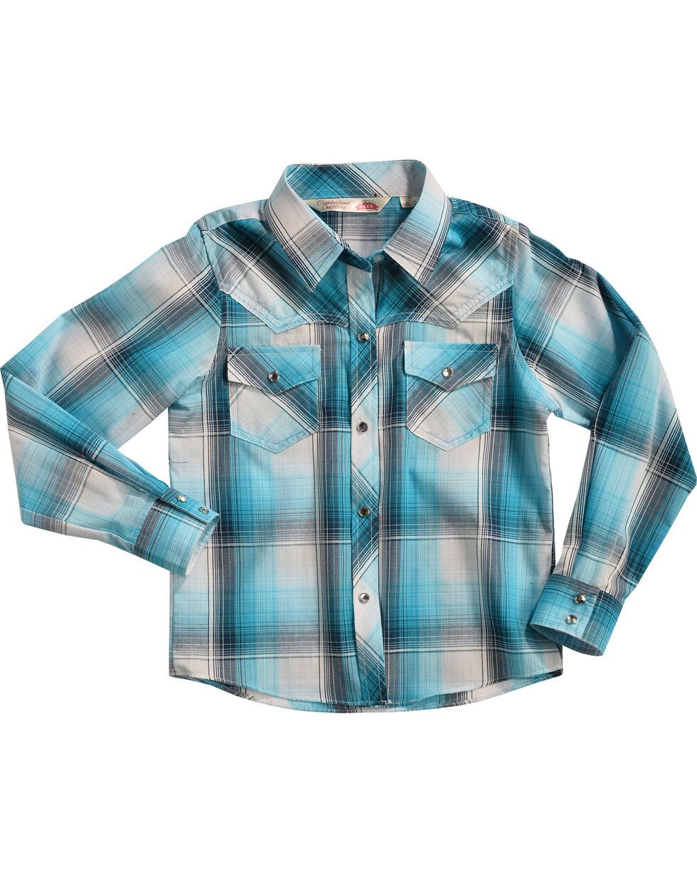 Cumberland Outfitters Girls' Turquoise Plaid Shirt , Turquoise, hi-res