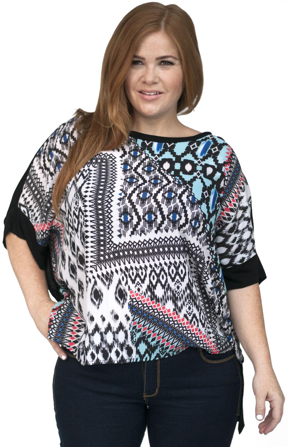 Lawman Women's Printed Chiffon Tunic - Plus Size, Aqua, hi-res