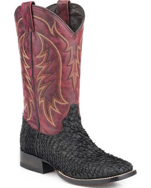 Stetson Men's Black Huachinango Fish Cowboy Boots - Square Toe , Black, hi-res