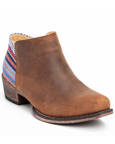 Roper Women's Serape Heel Fashion Booties - Snip Toe, Brown, hi-res