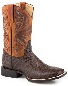 Roper Men's Embossed Caiman Western Boots - Square Toe, Brown, hi-res