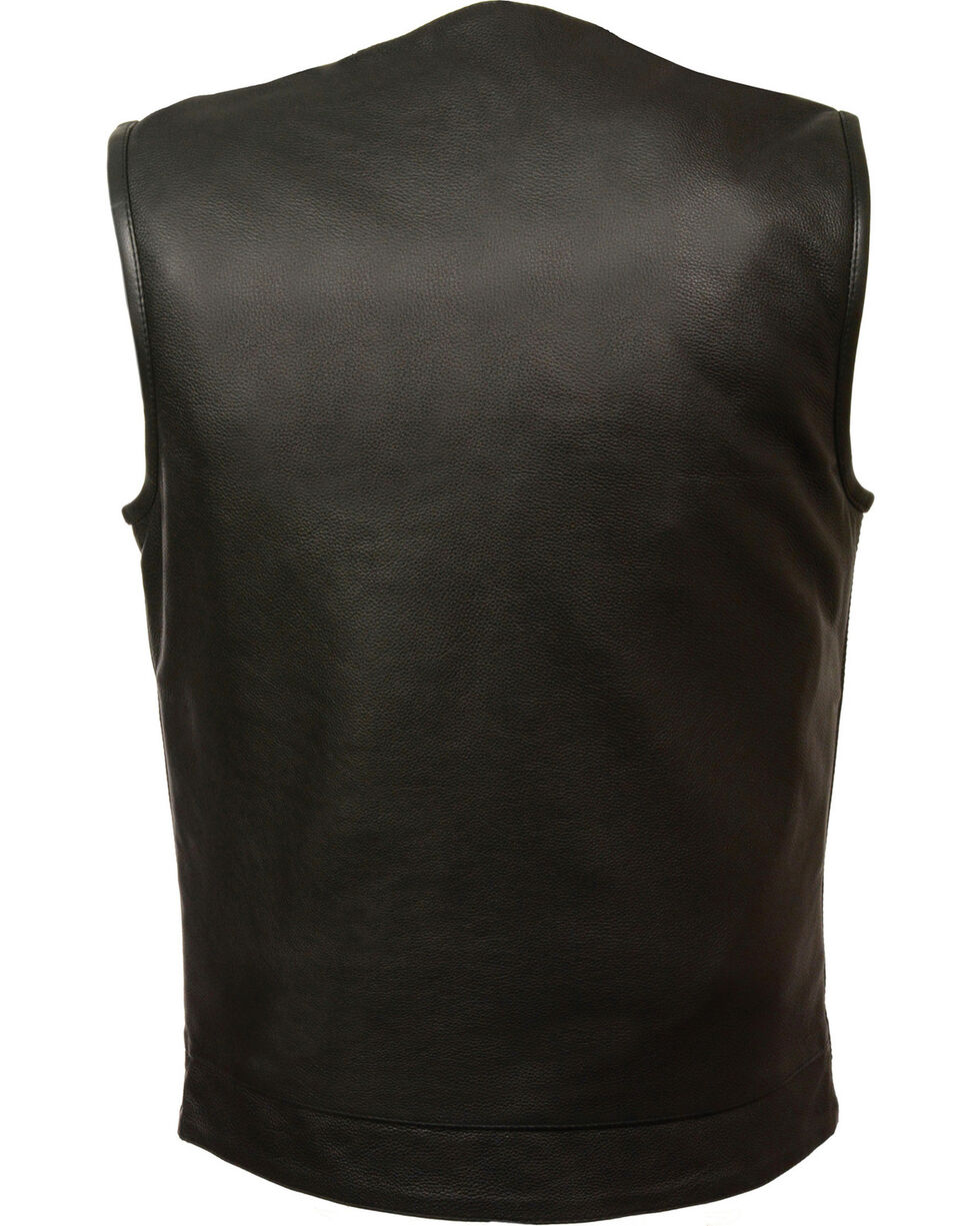 Milwaukee Leather Men's Black Collarless Club Vest - Big 3X, Black, hi-res