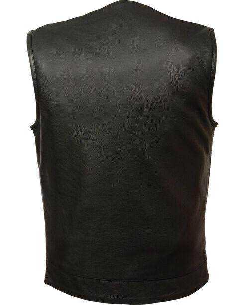 Milwaukee Leather Men's Black Collarless Club Vest - Big 5X, Black, hi-res