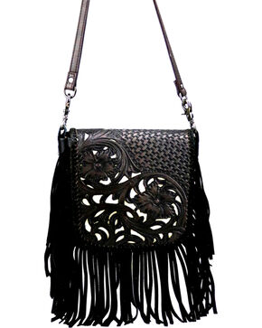 Montana West Women's Genuine Leather Tooled with Fringe Crossbody Bag, Black, hi-res