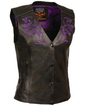 Milwaukee Leather Women's Reflective Tribal Design Vest, Black/purple, hi-res