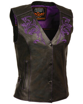 Milwaukee Leather Women's Reflective Tribal Design Vest - 4X, Black/purple, hi-res