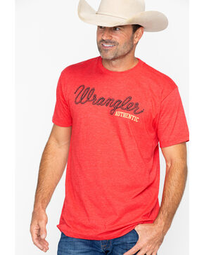 Wrangler Men's Authentic Short Sleeve T-Shirt, Red, hi-res