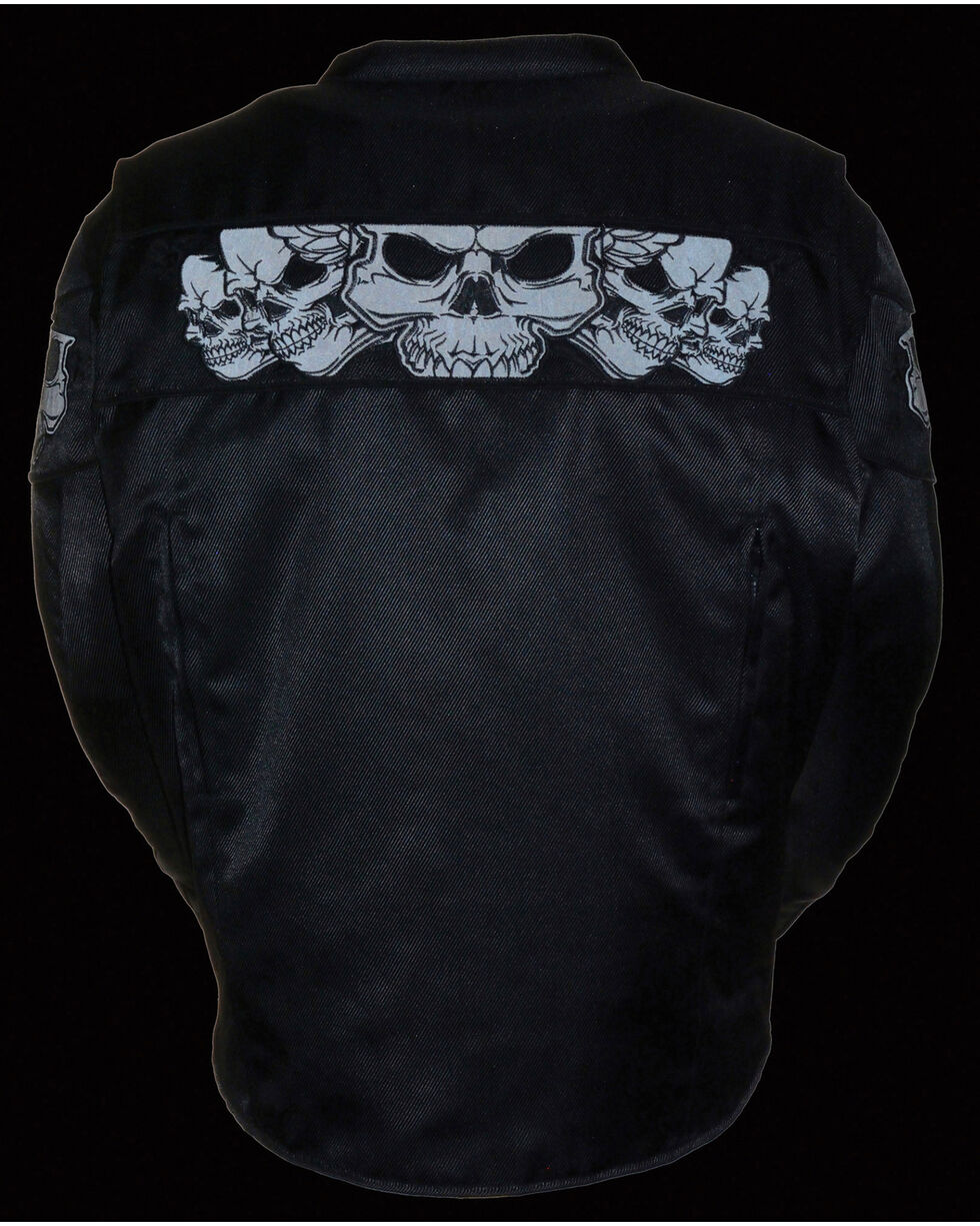 Milwaukee Leather Men's Reflective Skulls Textile Jacket, Black, hi-res
