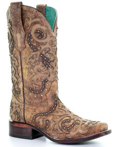 Corral Women's Brown Overlay Western Boots - Square Toe, Brown, hi-res