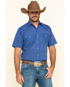 Ely Cattleman Men's Blue Mini Check Plaid Short Sleeve Western Shirt - Tall, Blue, hi-res