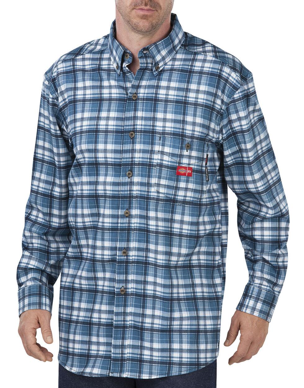 Dickies Men's Flame Resistant Plaid Shirt, Blue Plaid, hi-res