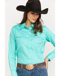 c954fb44 Wrangler Womens Turquoise Long Sleeve Western Shirt, Turquoise, hi-res