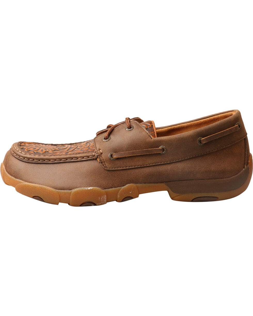 Twisted X Men's Tan Tooled Driving Mocs, Tan, hi-res