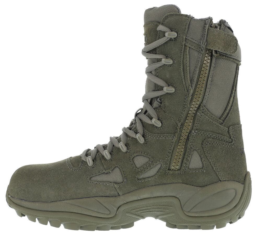 "Reebok Men's Stealth 8"" Lace-Up Side-Zip Work Boots - Composite Toe, Sage, hi-res"