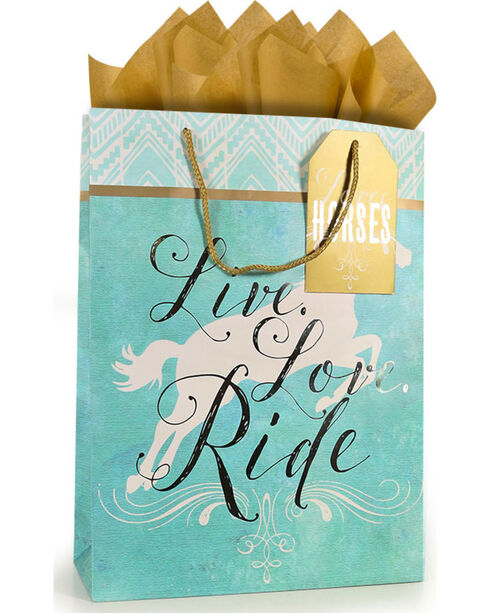 BB Ranch Live, Love, Ride Large Gift Bag with Tissue Paper, No Color, hi-res