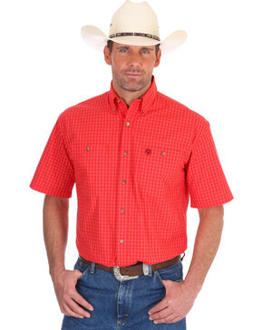 Wrangler Men's Red George Strait Window Pane Short Sleeve Shirt - Tall, Red, hi-res