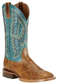 Ariat Hesston Cowboy Boots - Square Toe, Tan, hi-res