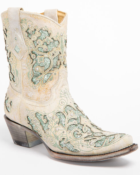 Corral Women's Metallic Green Glitter Inlay & Crystals Ankle Boots - Snip Toe, White, hi-res