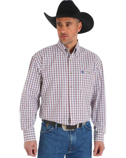 Wrangler George Strait Men's Chestnut/White Poplin Plaid Button Shirt, Tan, hi-res