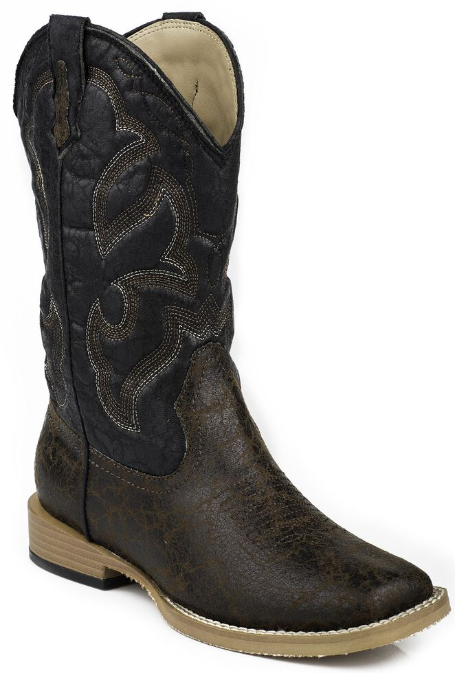 Roper Youth Boys' Distressed Faux Leather Cowboy Boots - Square Toe, Dark Brown, hi-res
