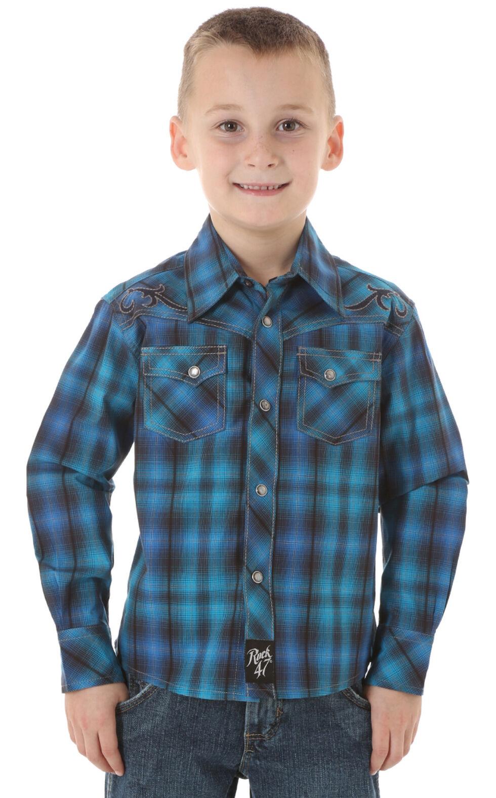 Wrangler Rock 47 Boys' Blue & Black Plaid Snap Shirt, Blue, hi-res