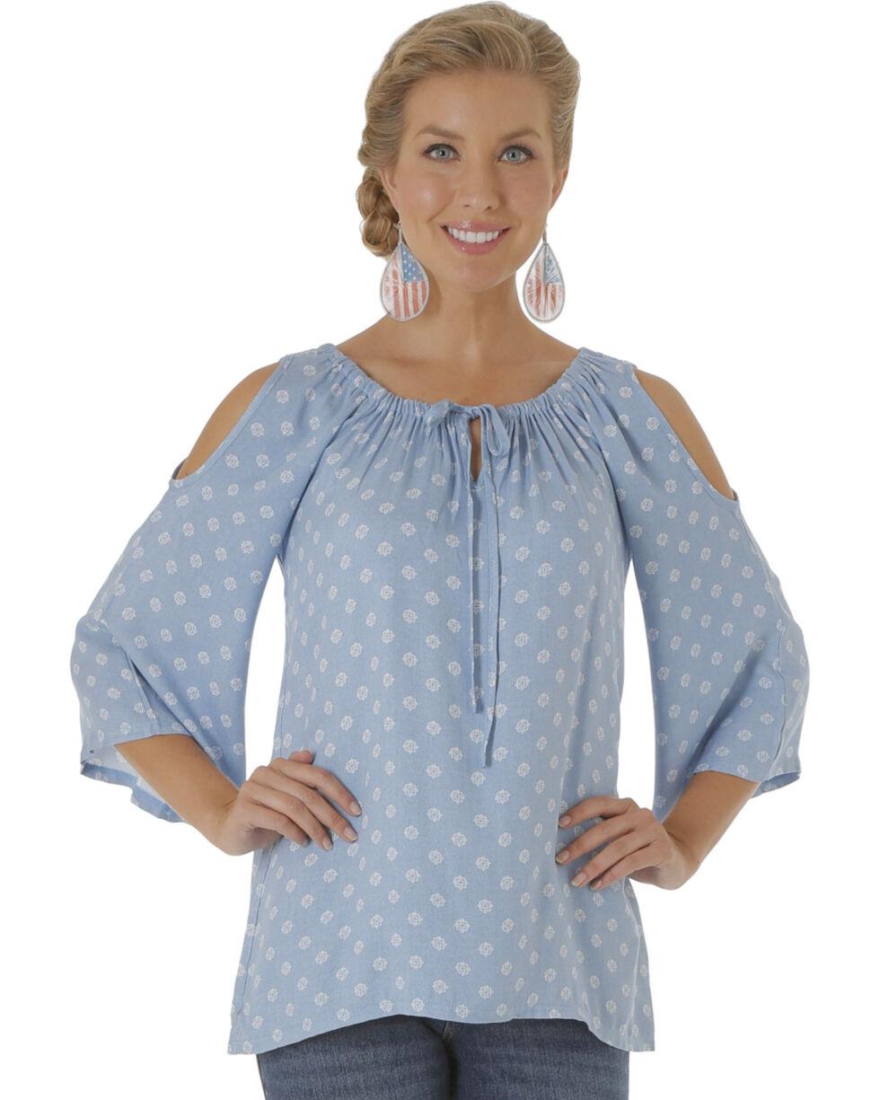 Wrangler Women's Blue Cold Shoulder Printed Top , Blue, hi-res