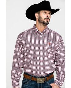Cinch Men's White Diamond Geo Print Button Long Sleeve Western Shirt , White, hi-res