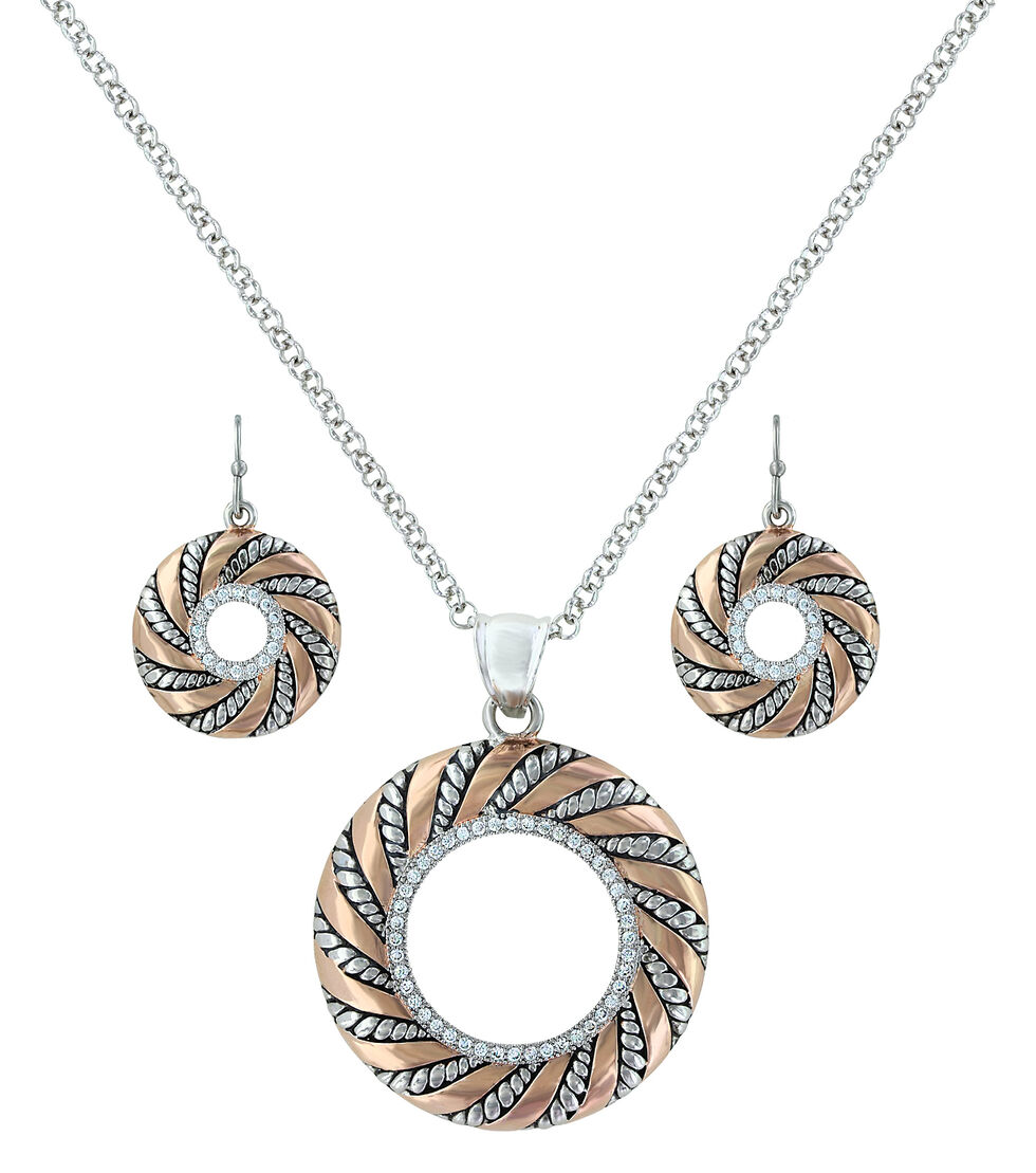 Montana Silversmiths Twisted Wreath of Burnished Ribbon Jewelry Set  , Blush, hi-res