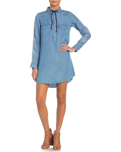 Miss Me Long Sleeve 1/2 Snap Denim Dress, Indigo, hi-res