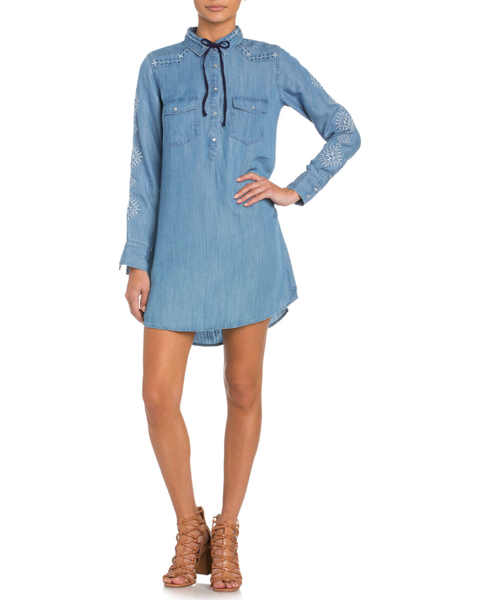 Miss Me Women's Embroidered Pearl Snap Denim Dress, Indigo, hi-res