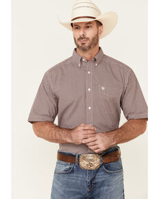 Ariat Men's Kelso Small Geo Print Short Sleeve Button-Down Western Shirt , Red, hi-res