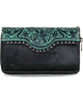 Trinity Ranch Women's Turquoise Hair On Leather Wallet , Black/turquoise, hi-res