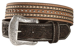Nocona Top Hand Studded Double Ribbon Trim Belt, Brown, hi-res