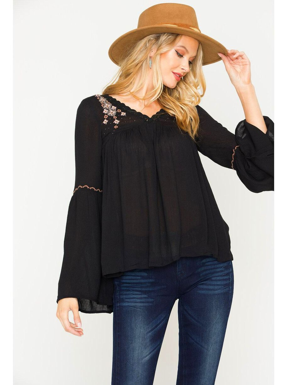 Sage The Label Women's Black Temple Beaded Blouse , Black, hi-res