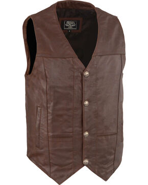 Milwaukee Leather Men's Western Plain Side Vest, Brown, hi-res