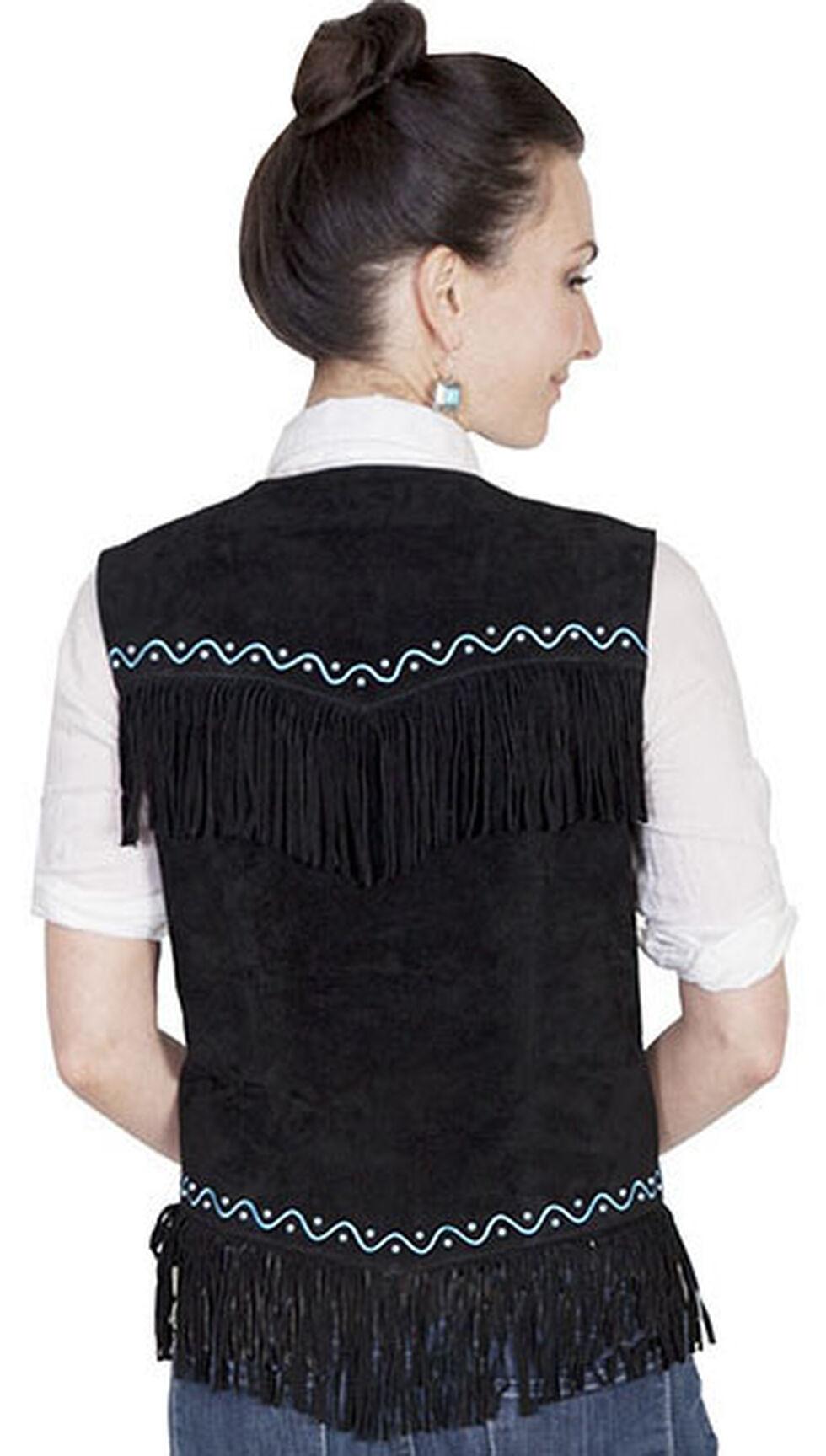 Scully Western Suede Fringe Vest, Black, hi-res