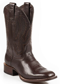 Stetson Flynt Buffalo Calf Boots - Square Toe, Dark Brown, hi-res