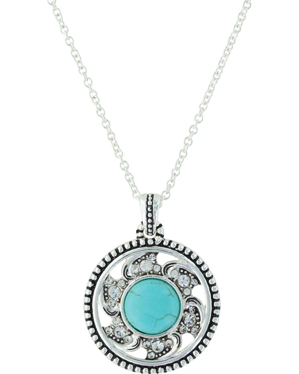 Montana Silversmiths Women's Tumbling Flower Medallion Necklace , Silver, hi-res