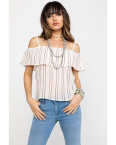Shyanne Women's Striped Cold Shoulder Top , Peach, hi-res