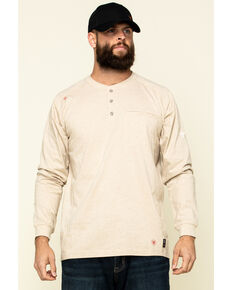 Ariat Men's Sand Heather FR Air Henley Soar Graphic Long Sleeve Work T-Shirt - Big & Tall, Yellow, hi-res