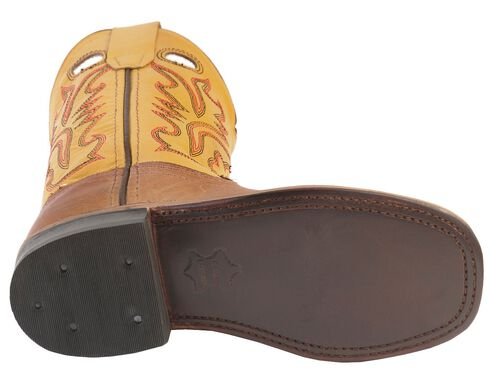 Old West Youth Tan Canyon Cowboy Boots - Square Toe, Tan, hi-res