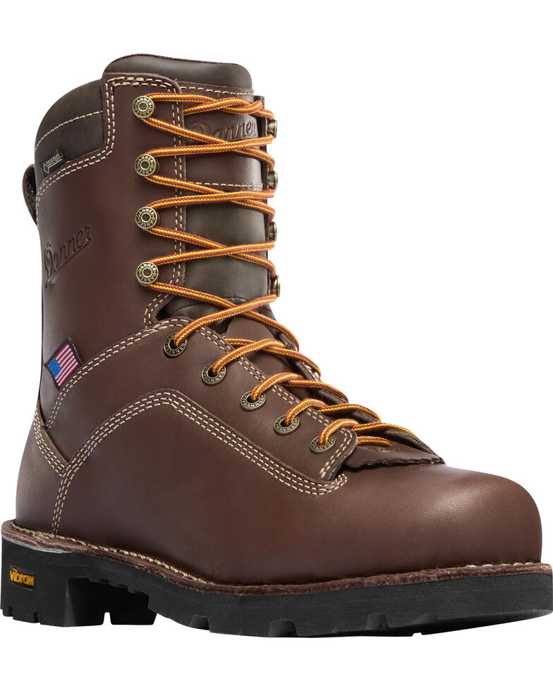 "Danner Men's Brown Quarry USA 8"" Work Boots - Soft Round Toe, Brown, hi-res"