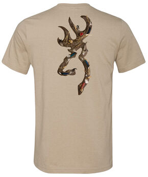 Browning Men's Waterfowl Buckmark Heather Tan Short Sleeve Tee, Tan, hi-res