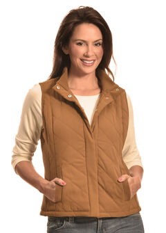 Jane Ashley Women's Faux Suede Quilted Vest, Camel, hi-res