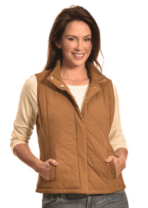 Jane Ashley Women's Faux Suede Quilted Vest, Camel, hi-res