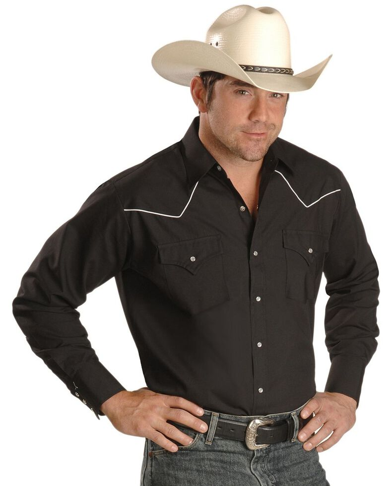 Ely Cattleman Men's Contrasting Piped Yoke Long Sleeve Western Shirt, Black, hi-res